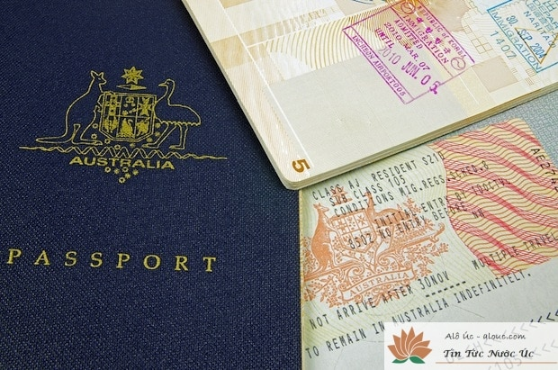 australian passport and immigration visa with customs stamp