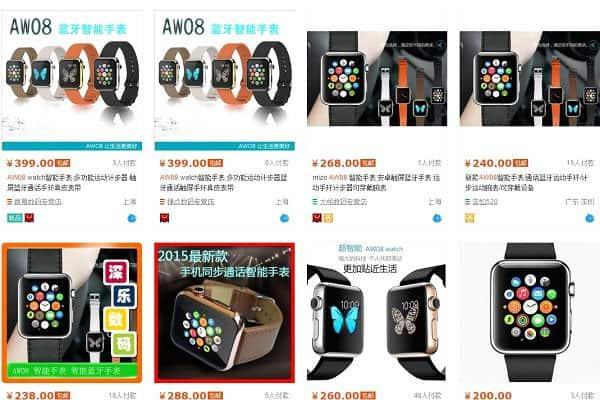 """<b>Apple Watch """"nhái""""</b><br><br>Phải vài ngày nữa hãng công nghệ Mỹ Apple mới chính thức đưa chiếc đồng hồ thông minh Apple Watch lên kệ. Tuy nhiên, những sản phẩm """"nhái"""" Apple Watch đã được bày bán nhan nhản ở Trung Quốc với mức giá từ 40-80 USD, """"rẻ bèo"""" so với mức giá tối thiểu 349 USD cho mỗi chiếc Apple Watch """"xịn"""" đăng trên mạng Taobao."""