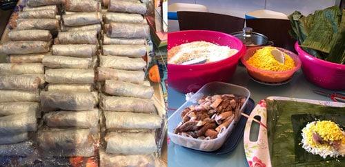 Cuối tuần hay có dịp đặc biệt, chị Nhung còng lưng gói nem và bánh chưng để kiếm thêm thu nhập.