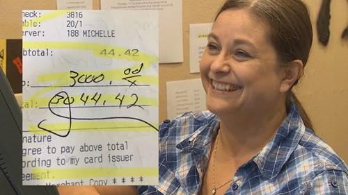 Michelle cho biết cô muốn gửi lời cám ơn tới hai thực khách hào phóng. Cô nói rằng, cô rất biết ơn họ. Ảnh: Today.
