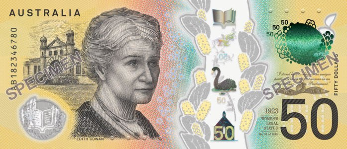 The new generation $50 banknote - serial number side.