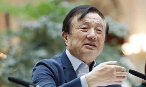 Người sáng lập Huawei Nhậm Chính Phi trong cuộc báo tại trụ sở công ty ở Thâm Quyến hai tuần trước. Ảnh: SCMP.